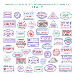 Custom vector typical artistic passport arrival and departure stamps variations set for Italy