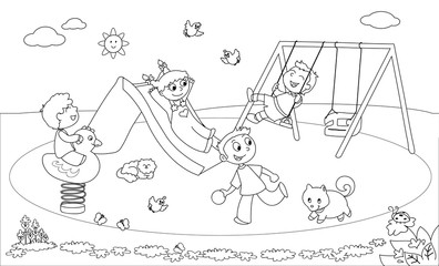 Kids at the playground coloring vector