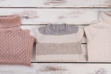 Folded hand knitted sweaters