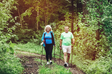 Senior couple trekking in the woods together.