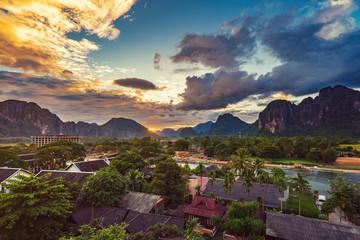 Landscape Viewpoint and beautiful sunset at Vang Vieng, Laos.