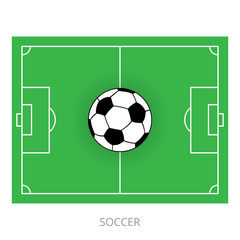 Scheme of a football field and a soccer ball, top view. Vector illustration