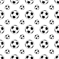 Seamless patterns from a soccer ball. Black and white. Vector illustration