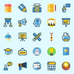 Icons set about School And Education with think, megaphone, medal, presentation, notebook and library