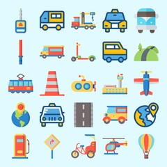 Icons set about Transportation with plane, van, car, scooter, bike and crane