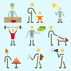 Icons set about Human with responsibility, student, father and son, cooker, man and chief