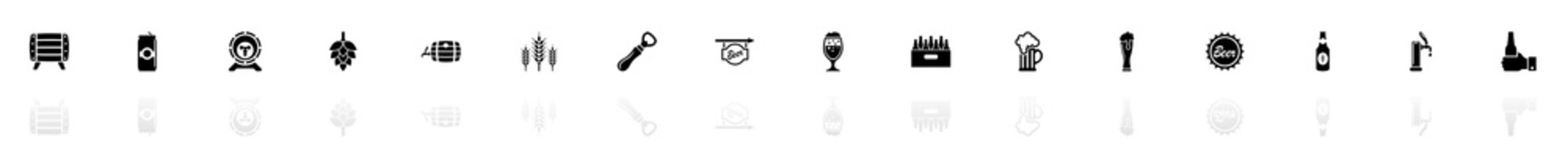Beer icons - Black horizontal Illustration symbol on White Background with a mirror Shadow reflection. Flat Vector Icon.