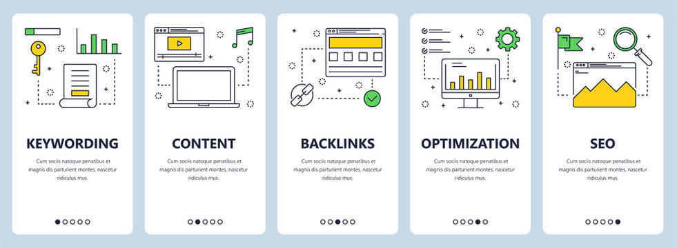 Vector modern thin line keywording concept web banner set