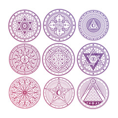 Bright mystery, witchcraft, occult, alchemy, mystical esoteric symbols isolated on white background