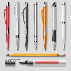 Realistic office stationery isolated on transparent background - pens, pencil and marker realistic vector
