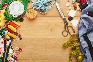Creative fashion designer table, top view
