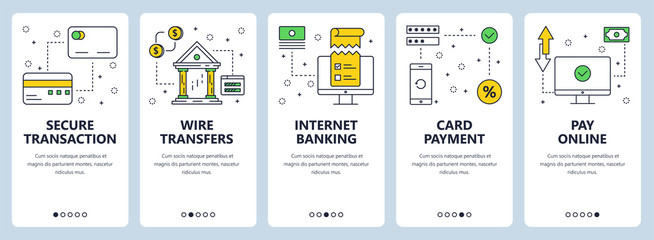 Vector modern thin line secure transactions concept web banner set