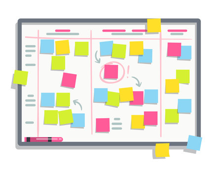 Process planning board with color sticky notes. Scrum task whiteboard flat vector illustration