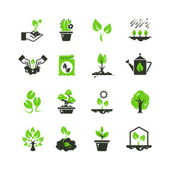 Tree sprout and plants vector icons. Seedling and hand planting pictograms