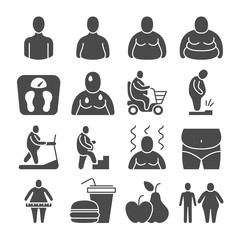 Fat obese people, overweight person vector icons