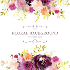 Watercolor floral background template