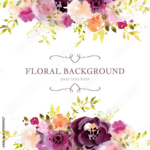 Quot Watercolor Floral Background Template Quot Stock Image And