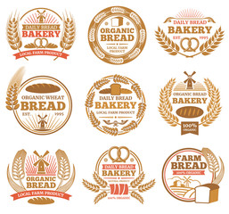 Vintage bakery vector labels with wheat ears and bread symbols