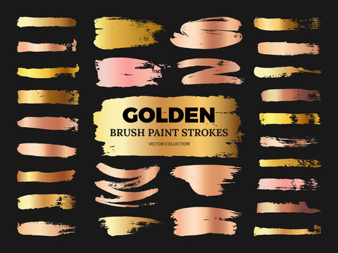 Hand drawn grunge rose and golden brush paint strokes vector collection isolated on black