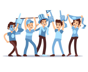 Cheering sports fans vector cartoon people characters. Sports team victory concept