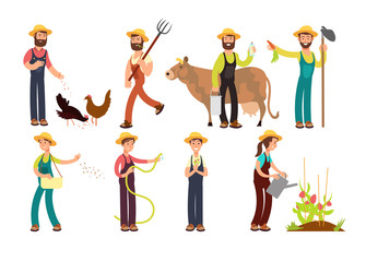 Cartoon farmer and gardeners with tools and farm animals vector characters set