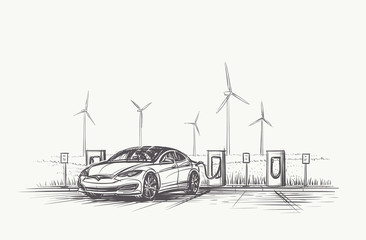 Electric Car charging hand drawn illustration. Vector, eps10.