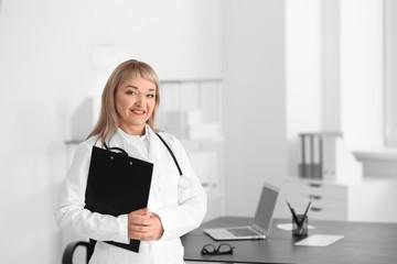 Portrait of female doctor in consultation room