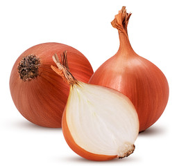 Two yellow onion bulb one cut in half