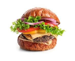 Tasty burger on white background