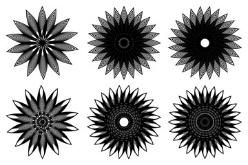 Flower - black and white vector icon, Star vector pattern, set,