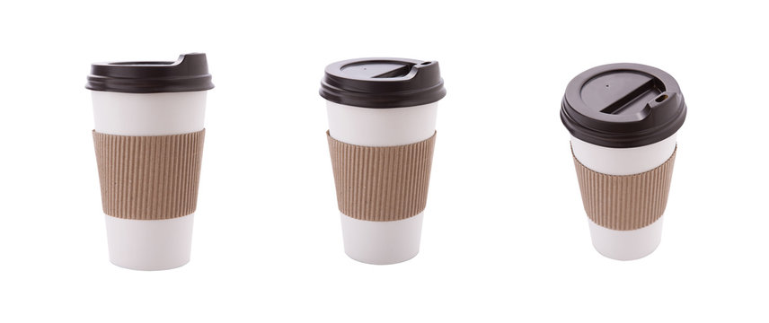 Blank take away kraft coffee cup isolated on white background. Set