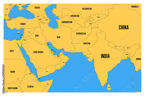 Political map of South Asia and Middle East. Simple flat vector map ...