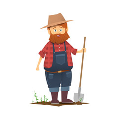 A farmer with a shovel.