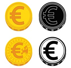 Set of coins with euro sign. Black and white. Vector