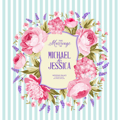 Marriage invitation card. Spring flowers bouquet of rose, peony and lavender garland. Wedding card with rose flowers over blue tile background. Vector illustration.