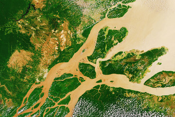 River delta of the Amazon, the largest river in the world, seen from space - Modified elements of this image furnished by ESA
