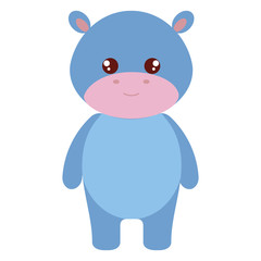 cute and tender hippopotamus character