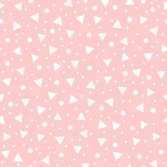 Cute geometric seamless pattern drawn by hand. White geometric shapes on pink background.