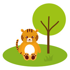 cute and tender tiger in the jungle character