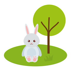 cute and tender rabbit in the park character