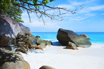 Beautiful sea landscape with tropical coast and the high-speed boat, Similan Islands, Andaman Sea, Thailand.