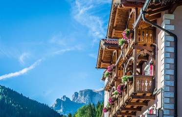 typical hotel in the Dolomites mountains.