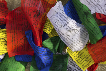 Buddhist colorful prayer flags with printed mantras