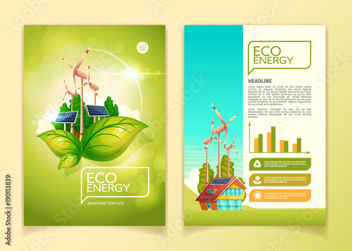 eco energy concept brochure template vector illustration for green nature environment conservation and natural resources