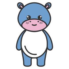 cute and tender hippopotamus character