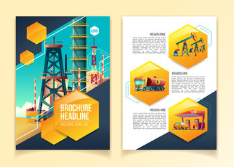 Oil industry brochure template vector illustration for oil refinery, producing company or refining plant. Flat geometric booklet design with headlines and text presentation templates of pipeline