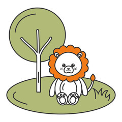 cute and tender lion in the jungle character
