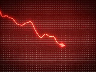 Red trend as symbol of economy drop or financial crisis