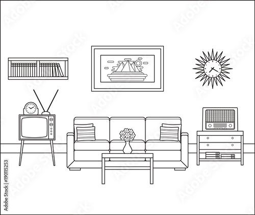Room Interior Sketch Retro Living Room In Line Art Vector Linear