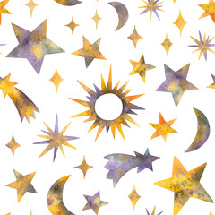 watercolor stars and celestial bodies. seamless pattern on a white background